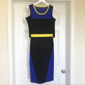 EUC XOXO Cold Shoulder Multicolored Midi Dress